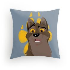 """""""Not a Dog, Not a Wolf"""" throw pillow featuring Balto! 