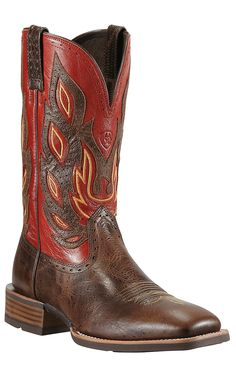 Ariat Nighthawk Men's Thunder Brown with  Red Top Double Welt Square Toe Cowboy Boot