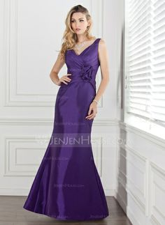 Bridesmaid+Dresses+-+$106.99+-+Mermaid+V-neck+Floor-Length+Taffeta+Bridesmaid+Dress+With+Ruffle+Flower(s)+(007000884)+http://jenjenhouse.com/Mermaid-V-Neck-Floor-Length-Taffeta-Bridesmaid-Dress-With-Ruffle-Flower-S-007000884-g884
