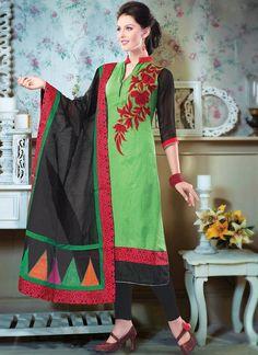 Refreshing Green Raw Silk Churidar Suit