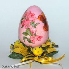 Design by Suzi: Polystyrénové vajíčka My Works, Easter Eggs, Decoupage, Jar, Spring, Design, Jars, Glass