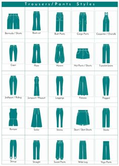 visual glossary of trousers/pants styles