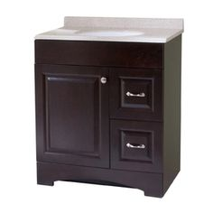 Style Selections Almeta 30-5/8-in x 18-3/4-in Espresso Single Sink Bathroom Vanity with Cultured Marble Top