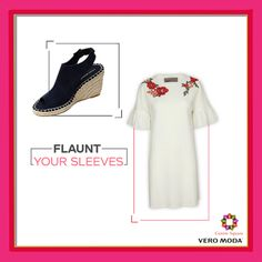 Slay in style with this flare sleeves dress which is the biggest obsession of this season! This white dress with its intricate detailing will keep your fashion game on point! Get your hands on this pretty ensemble. #VEROMODA #CentreSquare