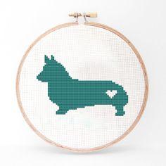 Corgi Silhouette Cross Stitch Pattern by kattuna on Etsy
