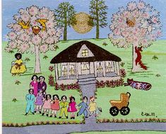 """Ethel Mohammed """"Family"""" Stitchery picture artist featured at the Smithsonian, in documentary films and at her preserved home in Belzoni, MS"""