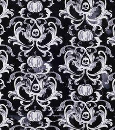 Halloween Cotton Fabric-Damask Skulls And Pumpkins