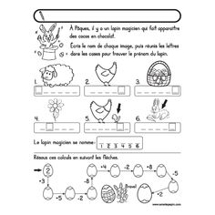 Easter Worksheets, French Worksheets, School Worksheets, Amelie Pepin, French Immersion, Teaching French, Brain Teasers, Learn French, Kids Education