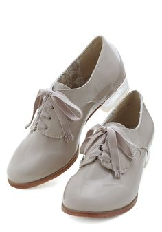 Clear as Crystal Flat. Flaunt your eye-catching style loud and proud in these stone-grey Oxford flats! #grey #modcloth