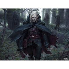 MtG Art: Timberwatch Elf from Eternal Masters Set by Yohann Schepacz - Art of Magic: the Gathering Dark Fantasy, Fantasy Rpg, Medieval Fantasy, Elf Characters, Dungeons And Dragons Characters, Fantasy Characters, Fantasy Races, Fantasy Warrior, Elf Warrior