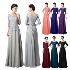 Elegant Lace Mother of the Bride Groom Dresses Long Formal Prom Gowns 3/4 Sleeve #Dress #Formal