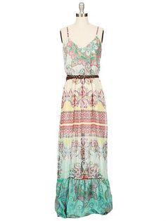 Love the pattern on this GYPSY 05 Venus Ruffle Maxi Dress. So bohemian!