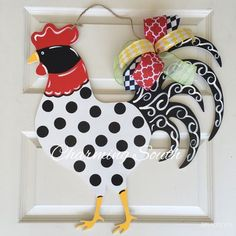 Wooden Rooster Door Hanger by CharmingSouthNC on Etsy