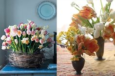 Peachy tulips and tiny narcissi for seasonal Easter inspired wedding flowers