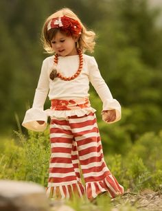 Persnickety Red Stripe Bell Pant for Girls - la bella boutique   Welcome home daddy outfit