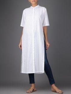 Ivory Dot Print Button-down Cotton Shirt