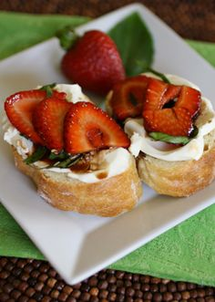 Mascarpone with strawberry and basil-balsamic topping ~ Easy fresh fruit bruschetta appetizers