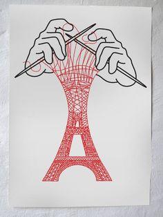 Silkscreen print - Eiffel Tower via Christoph Niemann. Click on the image to see more!