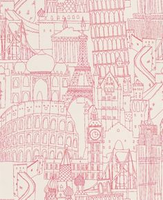 Globetrotter Pink (W0015/04) - Clarke & Clarke Wallpapers - An interpretation of famous land marks – with a hand-drawn quality to the image. Fun and quirky. Available in other colourways – shown in luminous pink on a off white background. Please ask for sample for true colour match. Paste the wall product.