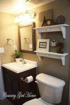 -guest Bathroom redo @ Home Improvement Ideas Home Improvement Projects, Home Projects, Country Girl Home, Toilet Storage, Toilet Shelves, Bathroom Shelves, Bathroom Storage, Laundry In Bathroom, Downstairs Bathroom
