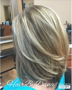 Balayage Highlights followed with Kenra Toner to achieve a cool, icy blonde! Color design by Dana