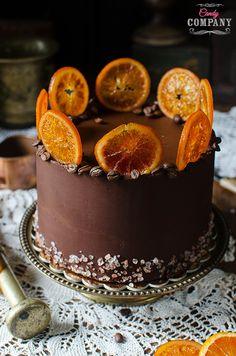 coffee cake with caramel coffee mascarpone blood orange filling and chocolate coffee ganache
