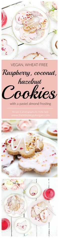 Quick & easy PINK vegan + wheat-free easter cookies, raspberry, coconut, hazelnut & almond flavour! Delicious Healthy Vegan Desserts, Delicious Vegan Recipes, Vegan Sweets, Vegan Snacks, Snack Recipes, Cookie Recipes, Vegan Meals, Vegan Food, Sweet Recipes