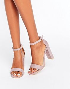 Glamorous Barely There Lilac Block Heeled Sandals