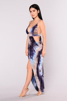 Atlantis Tie Dye Maxi Dress - Blue Multi