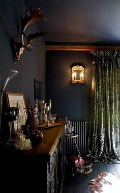Gothic Home Decor. When many people hear of Gothic home decor they picture someone that only dresses in black and wears black lipstick. Dark Bohemian, Bohemian Living, Bohemian Bedrooms, Room Interior, Interior Design, Interior Office, Kitchen Interior, Design Design, House Design