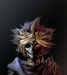 Tags: Anime, Yu-Gi-Oh!, Yami Yugi, Pharaoh Atem, Skull, Hair Jewelry, Black Background