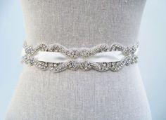 Rhinestone Bridal Sash  Rosemary by SparkleSM on Etsy, $180.00