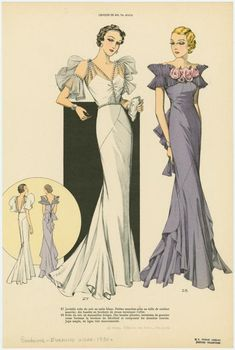 Women in formal evening gowns, front and back views. - NYPL Digital Collections