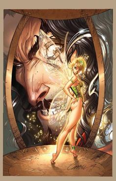 Tinkerbell and Hook by J. Scott Campbell