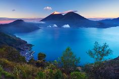 Three volcanoes, one stunning lake. Considered by @Condé Nast as one for the best World sceneries. Lago de Atitlán #Guatemala