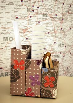 Make a Cereal Box Mail Caddy. For a back to school program? Use Mod Podge and magazines to decorate.