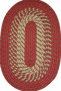 """Plymouth 9'6"""" x 13'6"""" Braided Rug in Barn Red by Constitution Rugs LLC. $384.25. Banded premium tubular braided rug enhances both contemporary and traditional room decors"""