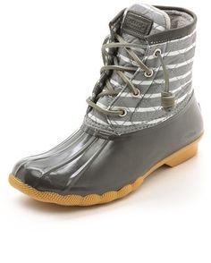 Sperry Top-Sider Saltwater Striped Duck Boots, Plush fleece lining and a fluted rubber toe lend a cozy fit to classic Sperry Top-Sider Duck booties. The timeless silhouette is detailed with striped, woven trim and a padded tongue. Lace-up closure and exposed side zip. Textured rubber sole.