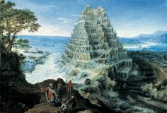 Lucas van Valckenborch 1535 – 1597     The tower of Babel (1595)     oil on panel (42 × 68 cm) — 1595