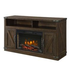 Muskoka Aberfoyle 53 in. Freestanding Electric Fireplace TV Stand in Rustic – The Home Depot - Fireplace insert Fireplace Tv, Decor, Fireplace Tv Stand, Tv Stand, Home Decorators Collection, Fireplace Inserts, Forced Air Heater, The Home Depot, Swivel Tv Stand