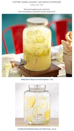 COPY CAT CHIC FIND: Pottery Barn's Mason Jar Drink Dispenser VS Cost Plus World Market's Mason Jar Water Tank