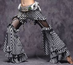 D175 Belly Dance Costume Tribal Vintage Trousers Striped Belly Dance Pants Fancy
