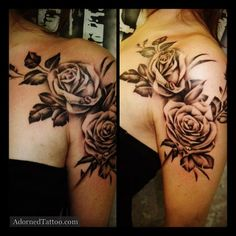 rose Shoulder Tattoos For Women | Black and Grey Roses Shoulder Tattoo | Adorned Tattoo