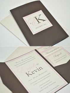 Enjoli L - Modern Monogram Pocketfold Wedding Invitation - Chocolate pocketfold printed on quartz (ivory shimmer) cardstock with light pink and chocolate inks.  Monogram is embellished with a Swaorvksi rhinestone.
