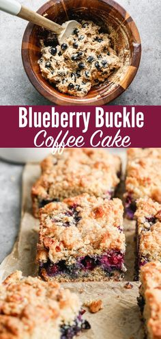 This Blueberry Buckle coffee cake is bursting with berries and topped with brown sugar streusel. So moist and made with healthy ingredients!#coffeecake #wellplated