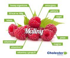 Maliny - słodkie i aromatyczne źródło zdrowia. Wpływają również na poziom cholesterolu. Smacznego! #cholester #dieta #maliny #owoce #witaminy