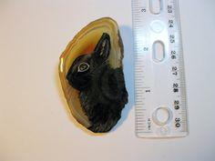 polish dwarf rabbit pin/pendant on agate
