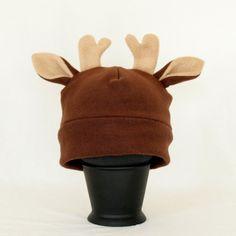 CHILDRENS Brown Fleece Deer Hat with Antlers, Reindeer Hat, Christmas Hat, Fully Lined Fleece Hat