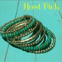 BOHO CHIC Wrap bracelet HOST PICK Boho, indie, rocker chic party 7/15.  Boho Chic wrap bracelet.   Antique Brass, and wooden turquoise beads. **NWOT** boutique Jewelry Bracelets