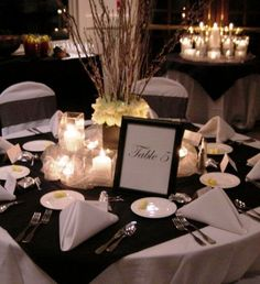 Flowers, Reception, White, Black, And, Branches, Dinner, Winery